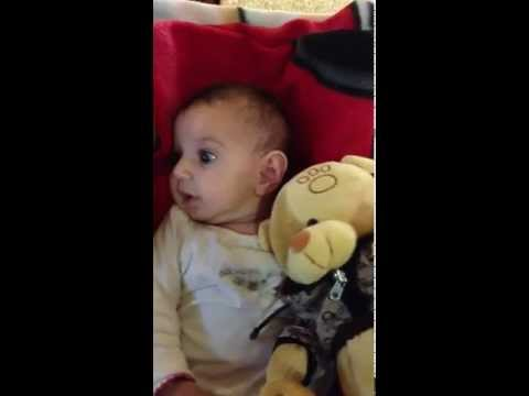 Cute baby making funny sounds