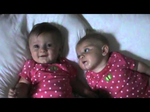 Funny Baby Makes Her Twin Sister Laugh