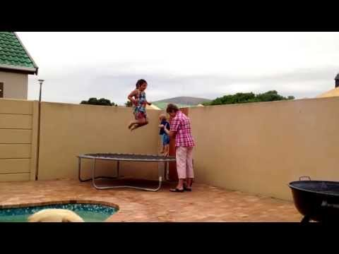 Funny. Baby laughing on trampoline.